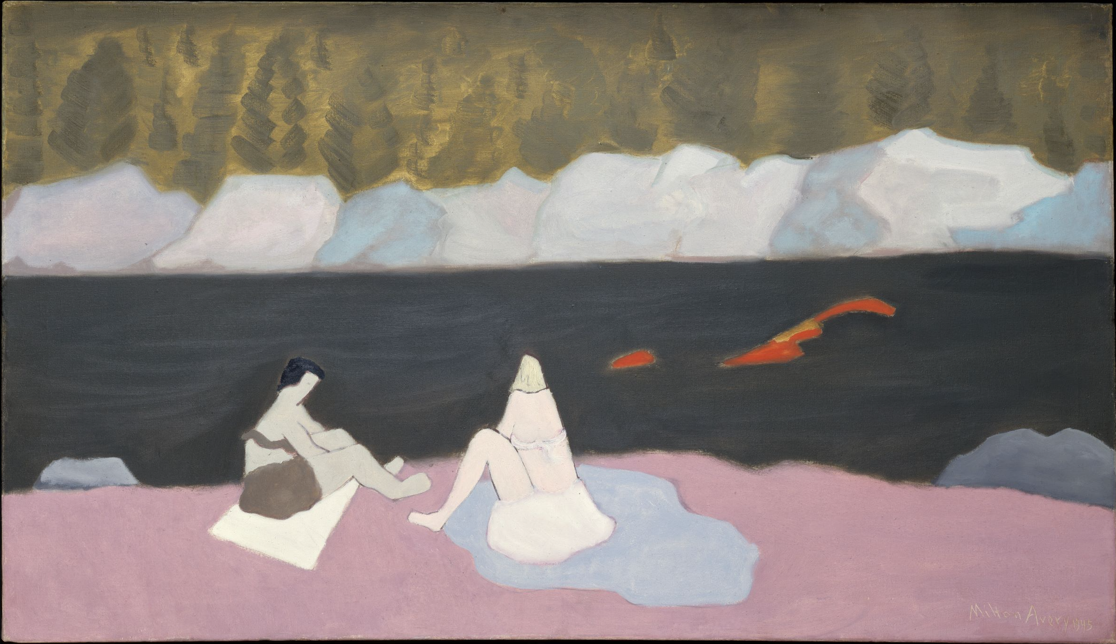 Milton Avery (American, 1885-1965). Swimmers and Sunbathers, 1945. Oil on canvas, 28 x 48 1/4 in. The Metropolitan    Museum of Art, Gift of Mr. and Mrs. Roy R. Neuberger, 1951 (51.97). © 2019 The Milton Avery Trust / Artists Rights Society (ARS), New York. Image copyright © The Metropolitan Museum of Art. Image source: Art Resource, NY.