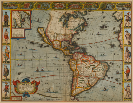 Rediscovering the new world maps sea charts from the age of speeds steel engraved hand colored view of america shows the post columbian new world it includes attractive cultural border decorations gumiabroncs Images